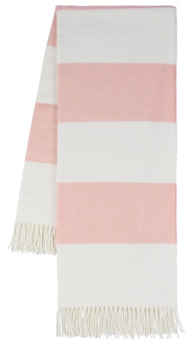 Blush Rugby Stripe Pattern Italian Throw Blanket
