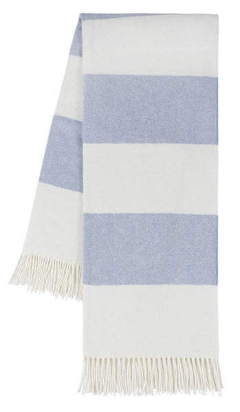 Denim Rugby Stripe Pattern Italian Throw Blanket
