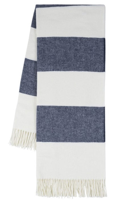 Navy Rugby Stripe Pattern Italian Throw Blanket