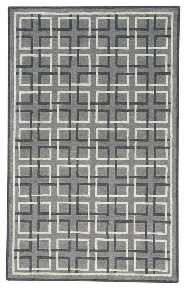 Square Trellis: Grey Area Rug