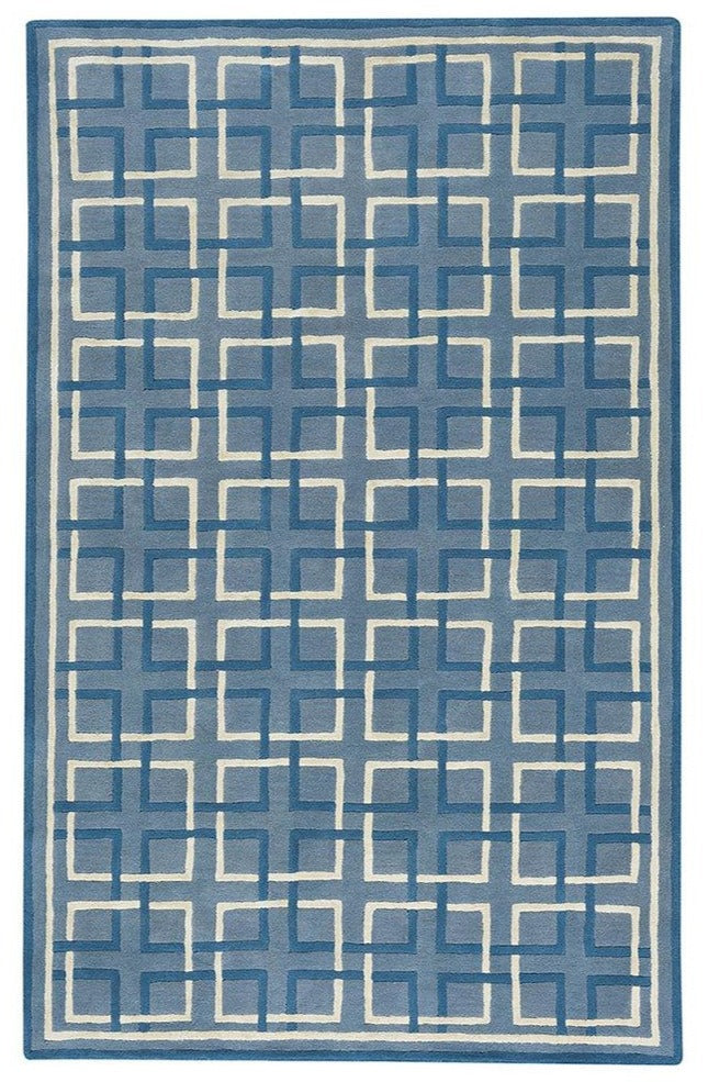 Square Trellis Area Rug: Light Blue Fretwork