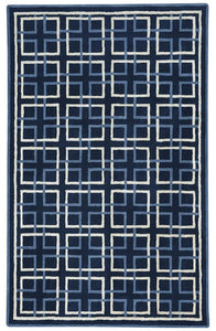 Square Trellis Area Rug: Navy