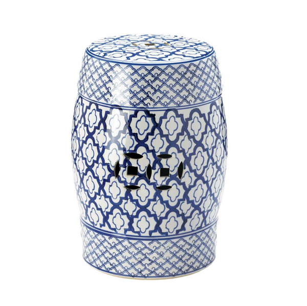 Summer Lattice Blue & White Ceramic Garden Stool