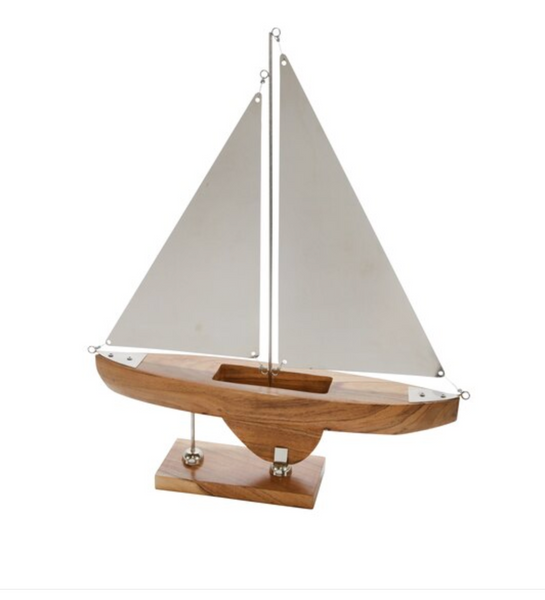 The Regatta II Contemporary Acacia Wood and Metal Sailboat