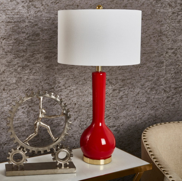 Cardinal Red Ceramic Table Lamp Long Neck