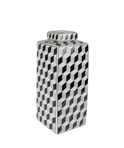 Geometric Black Ceramic Jar