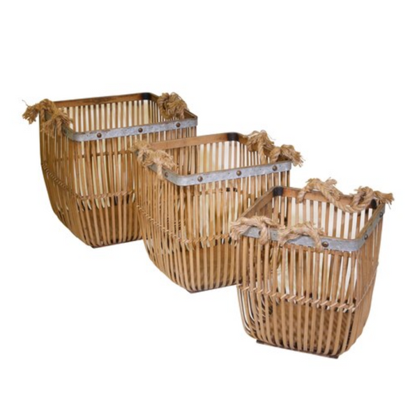 Bamboo and Rope Baskets Set of 3