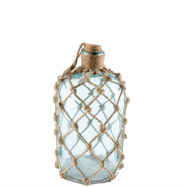Oceana Aqua Glass Netted Float Bottles, Three Sizes