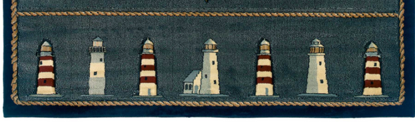 Stormy Blue Lighthouse Area Rugs