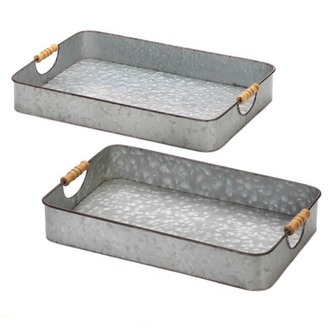 Galvanized Farmhouse Trays, Set of 2