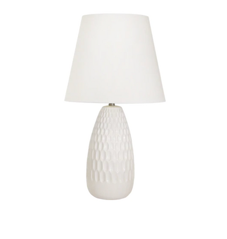 White Acorn Ceramic Table Lamp, 32 ""