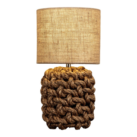 Small Basket Knot Rope Table Lamp With Burlap Shade