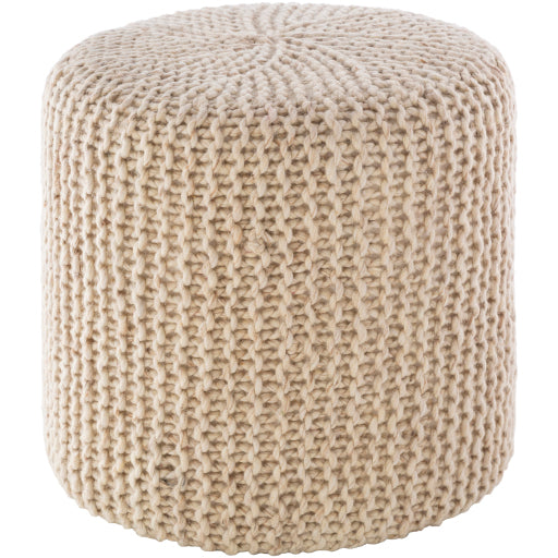 Coastal Pouf, Knitted Rope Texture