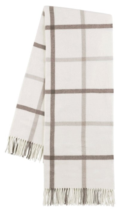 Barnwood and Dune Tattersall Plaid Italian Throw Blanket