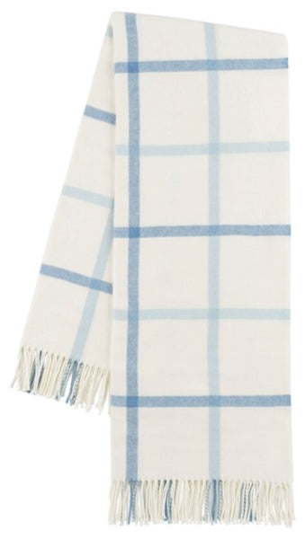 Blue Denim and Baby Blue Tattersall Plaid Italian Throw Blanket