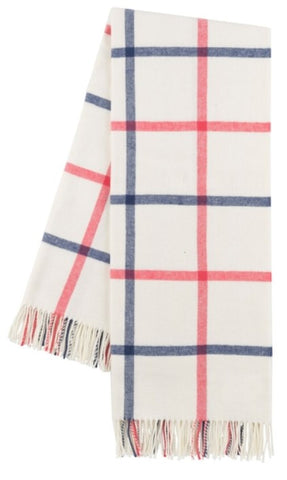 Indigo and Coral Tattersall Plaid Italian Throw Blanket