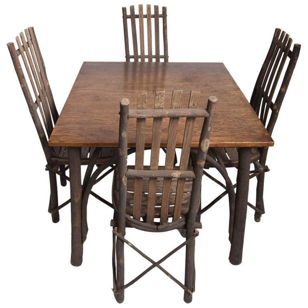 Antique Adirondack Old Hickory Rustic Table and Chairs