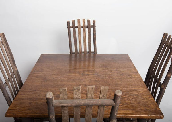 Antique Adirondack Old Hickory Table and Chairs