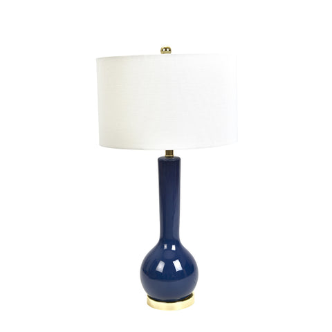 Lapis Blue Ceramic Table Lamp Long Neck