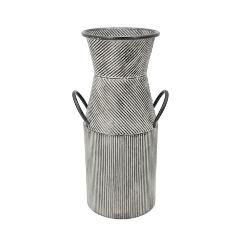 Farmhouse Galvanized Textured Metal Milk Jar