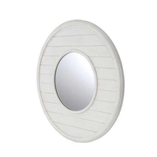 Wainscoat Wood Paneled Antique White Wall Mirror