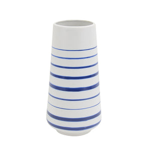 Striped Blue Denim Ceramic Vase