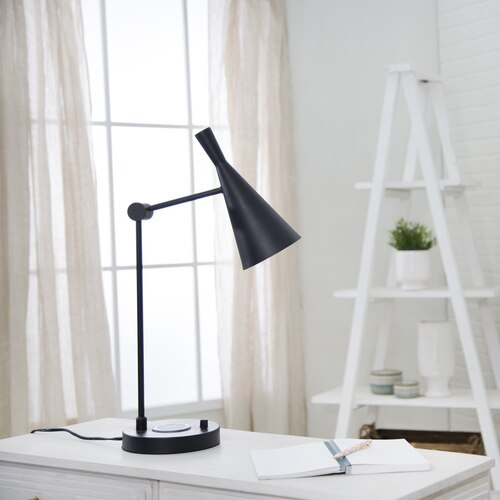Matte Black/Gold Task Lamp Wireless Charging Station 26""
