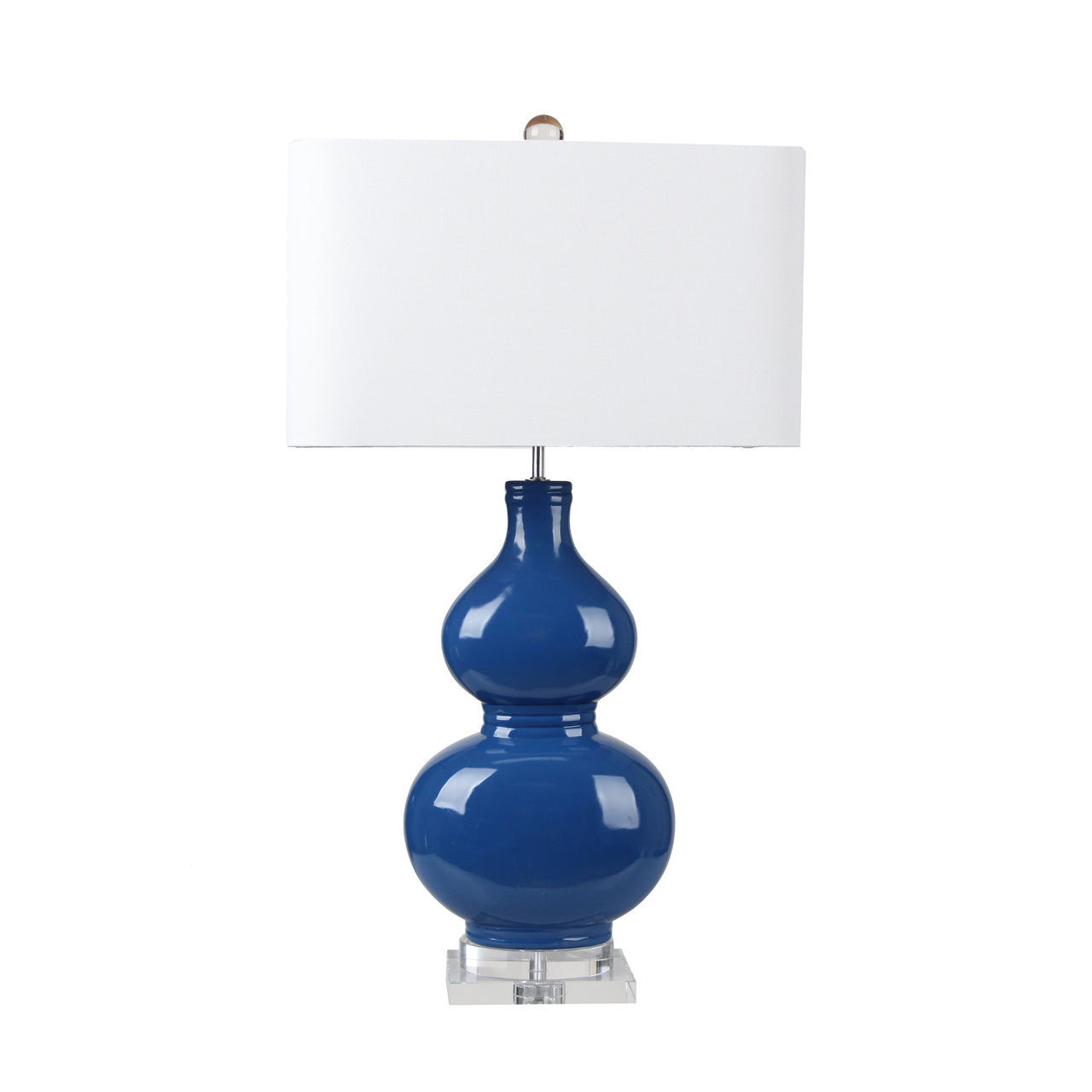 Marine Blue Double Gourd Ceramic Table Lamp with Crystal Base