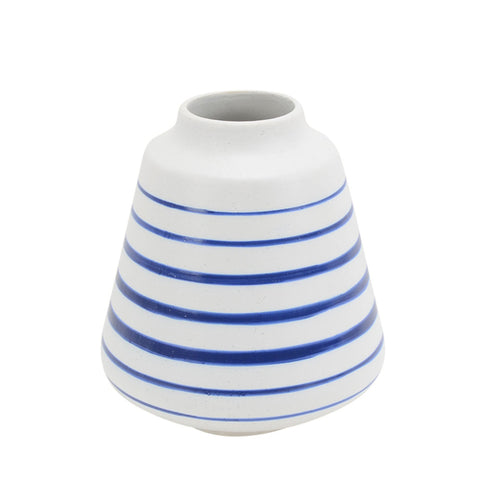Striped Blue Denim Ceramic Bell Vase