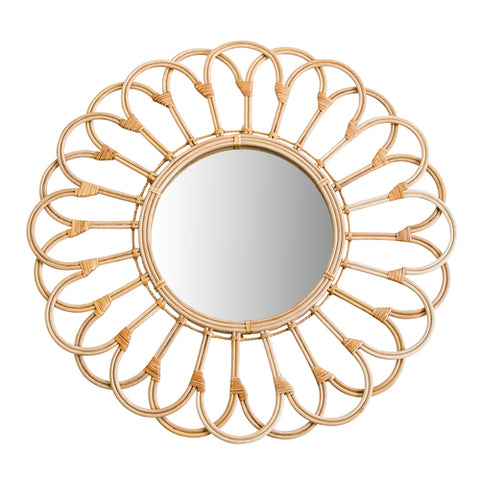 Rattan Wicker Looped Wall Mirror  27""