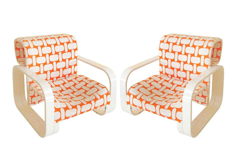 Pair of White Framed Jan Bocan Armchairs