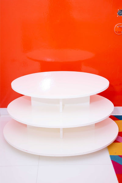 White Modern Nightstand Pair 3-Tiered Oval Table Custom designed by Anthony Baratta