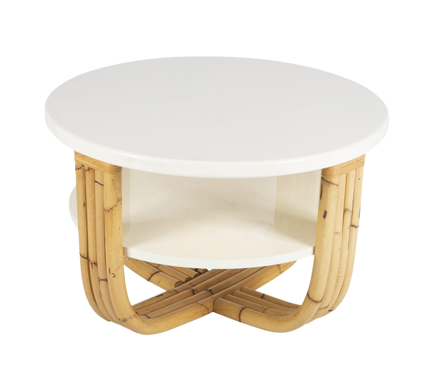 Bielecky Brothers Rattan & Cream Lacquer Cocktail Table