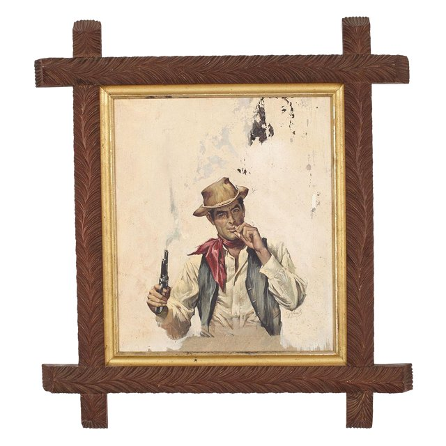 Book Cover Illustration of Cowboy in Antique Adirondack Frame