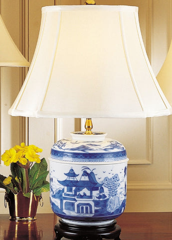 Blue Canton Temple Jar Lamp