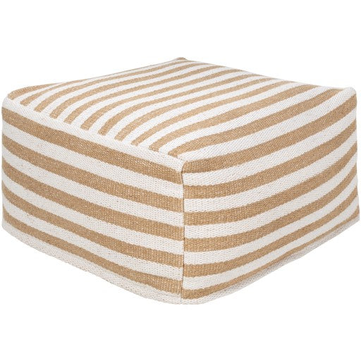 Woven Natural Striped Pouf, Removable Cover