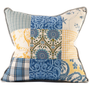 Yellow, Blue and White Patchwork Throw Pillow