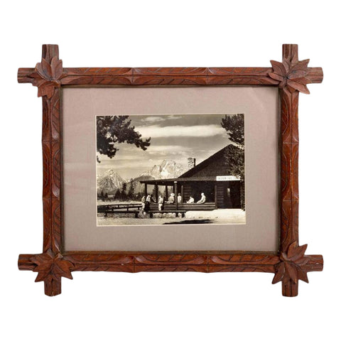 Mid-Century Dude Ranch Photograph in 19th Century Tramp Art Frame