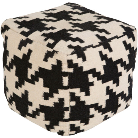 Houndstooth Wool Pouf
