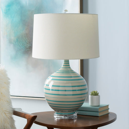 Tides Ceramic Table Lamp, Turquoise and White