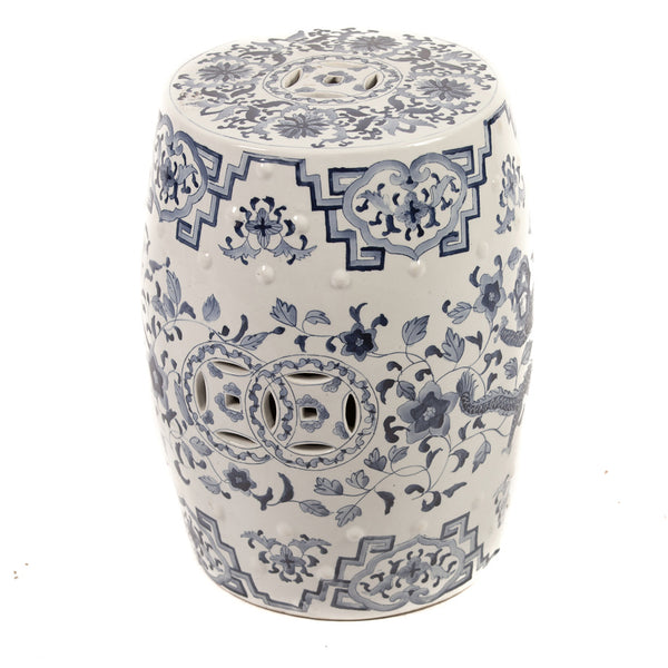 Blue and White Chinese Ceramic Garden Stool with Dragon