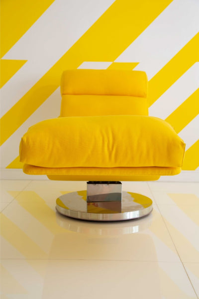 Milo Baughman Yellow Leather Chaise Lounge