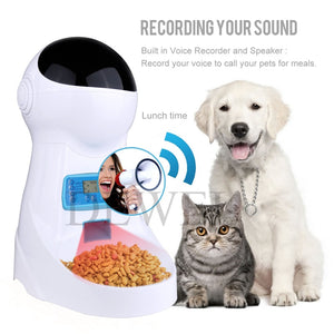 Automatic Pet Feeder, Dogs Cats Food Dispenser with Voice Record Remind, Timer Programmable, Portion Control, Distribution Alarm, IR Detect, 4 Meals a Day for Dogs Cats
