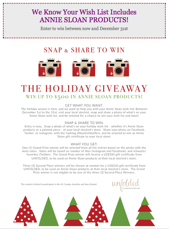 Annie Sloan $500 Holiday Giveaway Contest + 30% Off All Holiday +