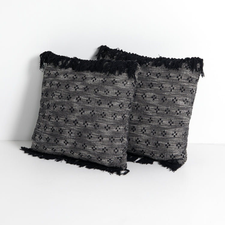 Dakota Black Stitch Fringe Pillows Set of 2