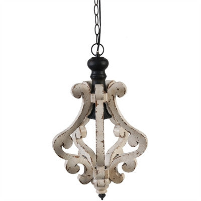 Harper One Light White Wood Chandelier