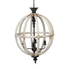 Distressed White Orb Chandelier