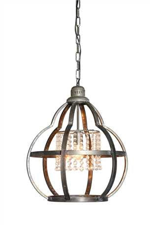 Metal Pendant Light with Crystals 22.5""