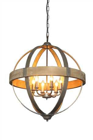 "Metal & Wood Pendant Light 26"" Dia"