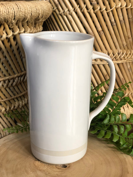 "9"" White Stoneware Pitcher"